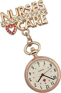 JAS Unisex Nurses Lapel Watch (Infection Control) Metal - 'Nurses Care' - Rose Gold