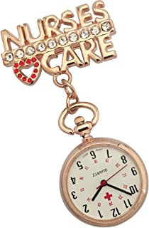 JAS Unisex Nurses Lapel Watch (Infection Control) Metal - 'Nurses Care' - Rose Gold