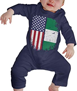 Dee O.STORE Infant Baby Girls Boys Romper Jumpsuit Outfits Nigerian American Flag Soft & Breathable Coveralls Jumpsuits