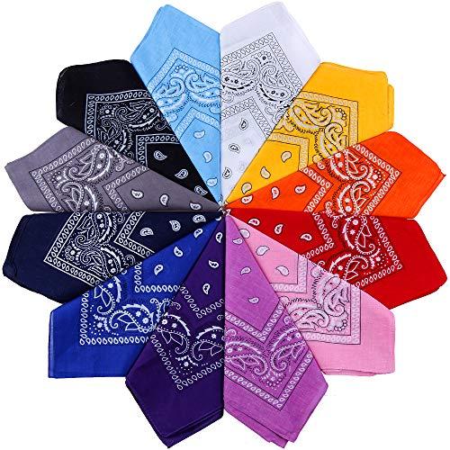 Anpro 12PCS Schal Bandanas Unisex-Taschentuch, Haarband, Halstuch, Multifunktions-Multicolor-Retro-Dekoration für Männer und Frauen, Kinder -12 Farben 55 * 55 cm