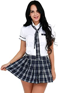 CHICTRY Women's School Uniform Japanese Anime Roleplay Oufits Shirt with Plaid Skirt