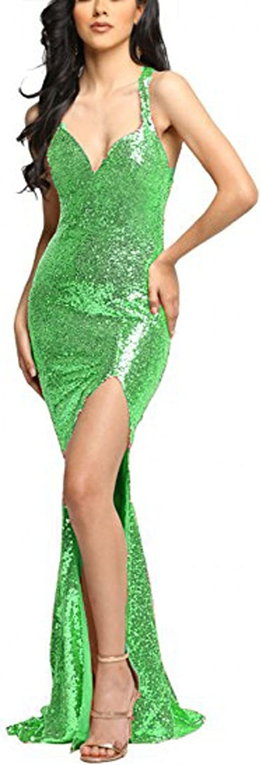 LEJY Sexy Sequined Long Mermaid Evening Party Dress Celebrity Evening Dress Slit 2018