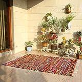 Alfombra Polar Chindi - Alfombra de área Rectangular de Trapos Chindi Lavables de algodón Puro Tejida a Mano para decoración del hogar 183x71 cm