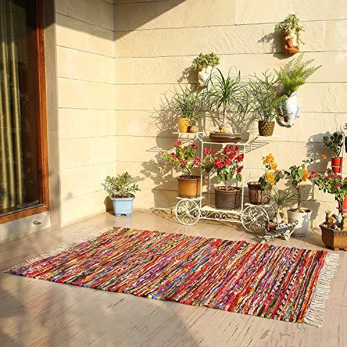 Alfombras rectangulares Chindi - Alfombra de Trapo Chindi 100% algodón Tejida a Mano Alfombra de área Reversible para decoración del hogar 152x91 cm