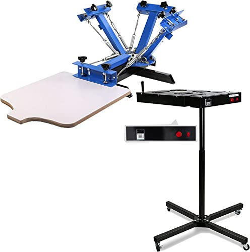 2021 SHZOND online Silk Screen Printing Machine 1 Station 4 Color and 18 wholesale x 18 Inch Flash Dryer with Temperature Display for Screen Printing 2000W outlet sale