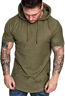 Foowni Fashion Men's Slim Fit Casual Popular Large Size Short Sleeve Hoodie Top Blouse