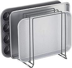 mDesign Soporte para bandejas de horno en metal – Compacto organizador de tapaderas para ahorrar espacio en armarios – Platero de cocina para guardar utensilios con 5 compartimentos – gris oscuro