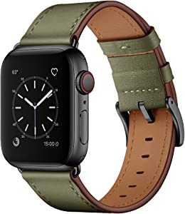 OUHENG Compatible with Apple Watch Band 44mm 42mm, Genuine Leather Band Replacement Strap Compatible with Apple Watch Series 6/5/4/3/2/1/SE, Army Green Band with Black Adapter