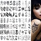 VEGCOO 70 Fogli Tatuaggi Temporanei, Impermeabili Micro Corone di Fiori Animale Tatuaggi Collezione, Tatuaggi Adesivi per Bambini Adulti Uomini e Donne