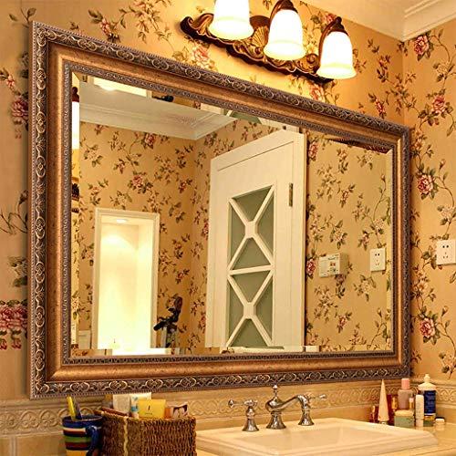 MBZL Wandspiegel, Europese moderne badkamerspiegel met spiegellijst, wandversiering make-up spiegel, make-up spiegel, scheerspiegel, scheerspiegel, slaapkamer decoratieve hangende spiegel