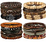 FIBO STEEL 17 Pcs Leather Bracelet for Men Women Woven Cuff Bracelet Adjustable