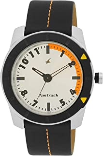 Fastrack Fashion Men's Grey Dial Leather Band Watch - T3015AL01