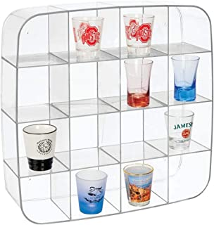 mDesign Plastic Wall Mount Display Organizer Holder - 16 Compartments - Protect, Store and Show Off Small Collectibles, Figurines, Shot Glasses, Nail Polish Colors, Spices - Clear