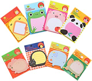 KINGSEVEN Cute Animals Shaped Sticky Note Self-Stick Note Gift for Students Children(8Pack, 20 Sheets/Pack, Random delivery)
