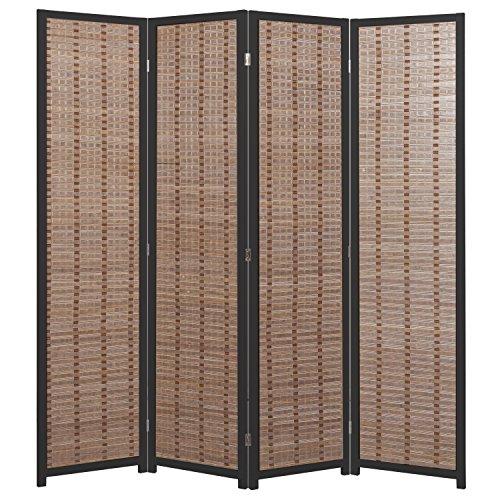 MyGift Decorative 4-Panel Bamboo & Black Wood Framed Folding Screen/Freestanding Room Divider