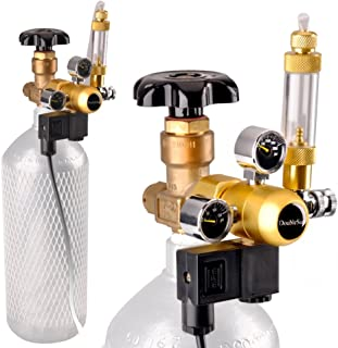Aquarium CO2 Regulator with Solenoid 110V-Mini Dual Gauge Display Bubble Counter,Check Valve Fits Standard US Tanks-Accurate and Easy to Adjust (HP2000PSI,LP150PSI) Flow Meter
