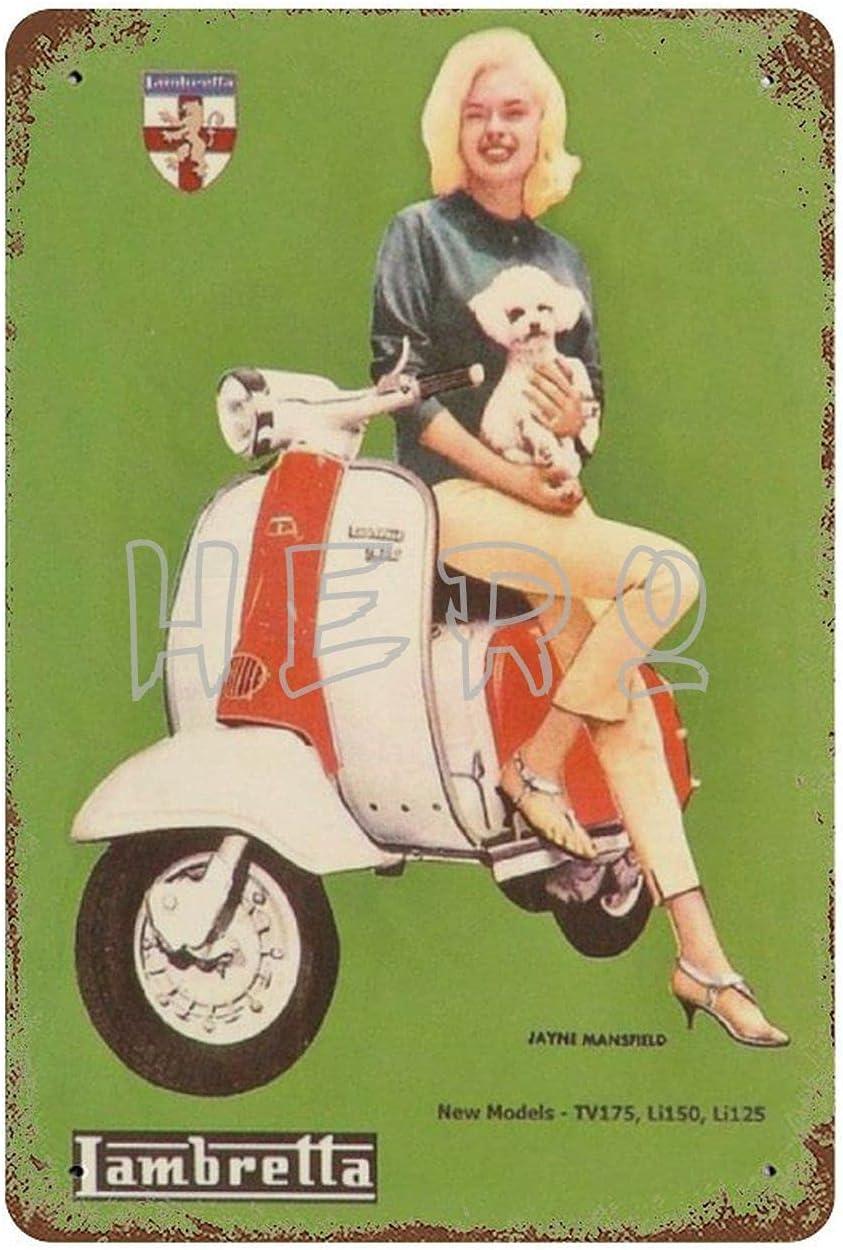 XREE Lambreta Innocenti Scooter motocicleta Vespa chica arte estaño signo vintage accesorios para el hogar displate placas de metal retro pintura hierro Rusty Poster