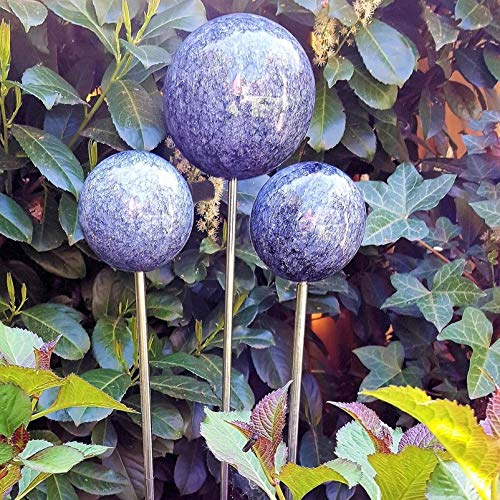 garten-wohnambiente Beetstecker Rosenkugel auf Stab mit Marmorlackierung in Blau 10 cm