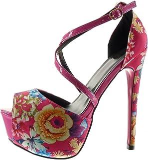 2e0cbefe7c53b9 Angkorly - Chaussure Mode Escarpin Sandale Stiletto Plateforme Sexy Femme  Fleurs lanière Talon Haut Aiguille 15