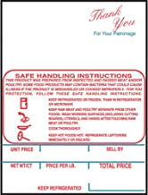 Scale Labels Hobart SP80/SP1500 K Series Safe Handling Instructions Weigh White Red/Blue Imprint - 2 1/4