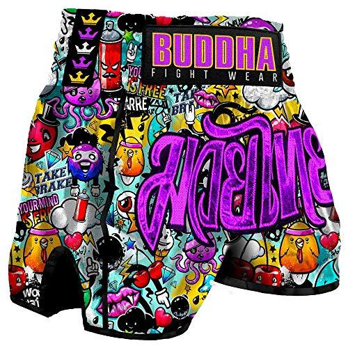 Buddha Fight Wear Muay Thai Kick Boxing Buddha Retro Zippy, Mehrfarbig Large