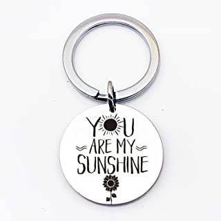 Inspirational Motivational Quotes Stainless Steel Key Chain Ring-Best Friends Family Lover Keychain - You are My Sunshine ...