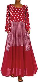 Women O-neck Casual Long Dress, Ladies Dot Printed Long Sleeve Vintage Maxi Dress