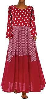 Women Plus Size Bohe O-Neck Floral Print Vintage Sleeveless Long Maxi Dress Vacation Boho Dress for Lady