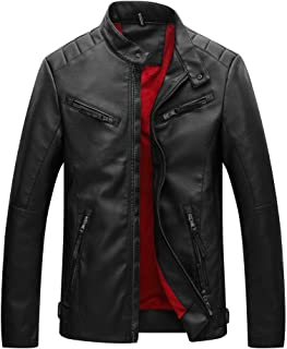 Classic PU Leather Jacket Mens Zipper Bike Coat Slim Autumn Winter Pocket