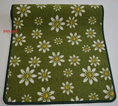 Imperial Tendaggi PASSATOIA Tappeto GOMMATO Misura 240X57 Antiscivolo Fantasia Margherite Colore Verde