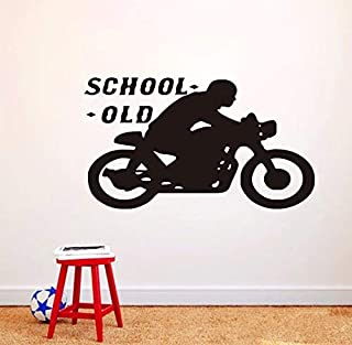 gykjf Wall Sticker Old School Motorcycle Wall Sticker Large Size Home Decor Wallpaper PVC Removable Wall Decal Waterproof Art Mura for Living Room102X58Cm