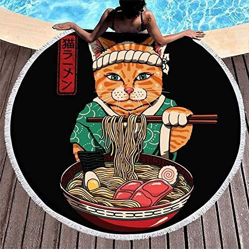 Toallas de Playa Vintage Japanese Cat Eat Ranmen Noodles White Large Yoga Mat Toalla para Mujeres Hombres Niño Niña Niños