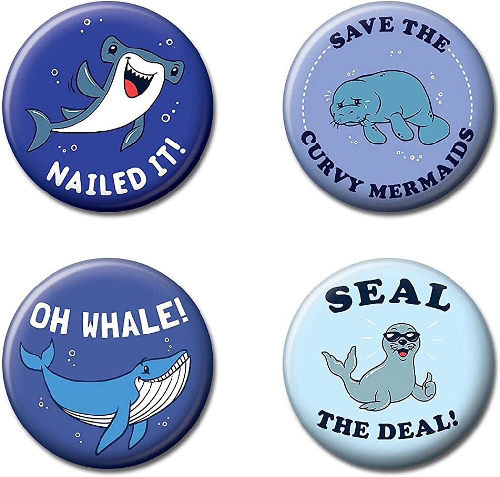 """Ata-Boy LCT Creative Silly Sea Buddies Set of 4 1.25"""" Collectible Buttons: Clothing"""