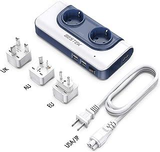 BESTEK Adaptador Enchufe Universal, 200W Transformador Viaje de 110V a 220V con Adaptador UK EU AU, 2 AC Enchufes y 4 Puertos Smart USB Multiprotección, Convertidor Voltaje Universal