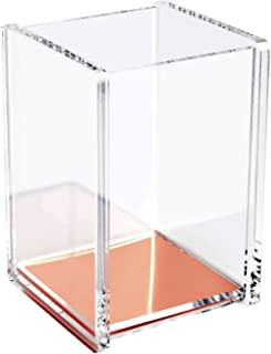 Zodaca [Deluxe Acrylic Design] Soft Touch Square Pen Pencil Ruler Holder Cup Desktop Stationery Organizer, Clear/Rose Gold