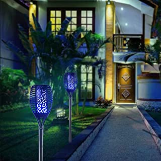 arzerlize Solar Garden Lights Dancing Flame Blue 2Pcs 96 Led Tiki Torches Outdoor Decorations for Patio Solar Lights Outdo...