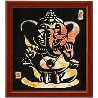 色紙サイズの額装仕立て開運切り絵『夢をかなえるゾウの神様・ガネーシャ』 薄染め和紙(杏) ganesh(Hindu god of wisdom or prophecy) 仏像画 仏画 [並行輸入品]