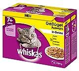 Whiskas 7 + Comida para Gatos – Selección de Aves en Jalea – Comida húmeda Gatos a Partir de 7 años y Mayores – 48 Bolsas de 100 g