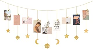 Mkono Hanging Photo Display Wood Star Moon Sun Garland with Chains Picture Frame Collage with 30 Wood Clips Wall Art Decoration for Home Office Nursery Room Dorm, Yellow