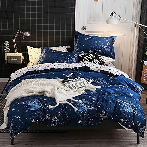 Omela Kinderbettwäsche Set Planeten & Sterne Motiv Bettwäsche 135x200 Kinder Jungen Blau Weiß Weltraum Universum Weich Microfaser Bettbezug und Kissenbezug 80x80 cm Reißverschluss