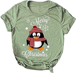 E-Scenery Women Blouse, Christmas Santa Letter Print Short Sleeve O-Neck T-Shirt Tunic Tops