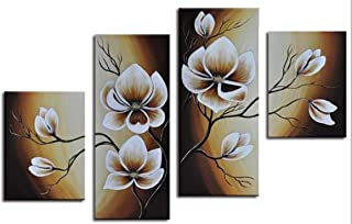 Wieco Art Large Modern 4 pcs 100% Hand Painted Gallery Wrapped Abstract Floral Oil Paintings on Canvas Wall Art Yellow Flowers Bloom Artwork Ready to Hang for Living Room Bedroom Home Decorations L