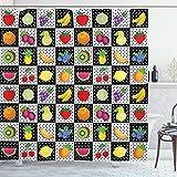 ABAKUHAUS En Blanco y Negro Cortina de Baño, Frutas de Cocina, Material Resistente al Agua Durable Estampa Digital, 175 x 200 cm, Multicolor