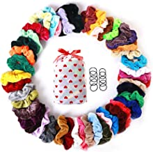 LABIUO Lot de 46 Cheveux Velours /Élastique Chouchous Multicolore Cheveux bandeaux Liens Cordes Queue De Cheval Porte Bandeaux Pour Femmes Ou Filles Accessoires De Cheveux