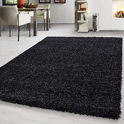 Teppich hochflor Shaggy Teppich modern einfarbig langflor Wohnzimmer teppiche, Maße:300 cm x 400 cm, Farbe:Schwarz