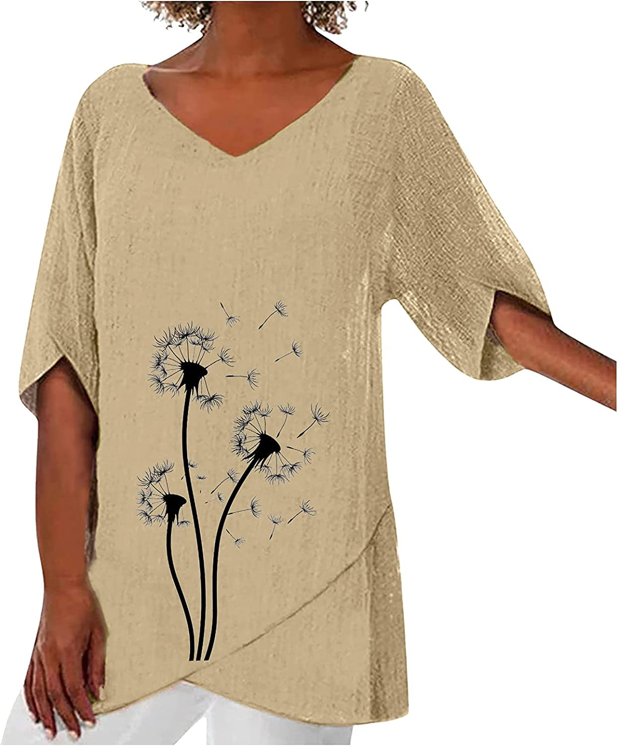 Fankle Blouses for Women Casual Hem Cotton and Linen V Neck Dandelion Printed Half Sleeve Casual Loose Tops
