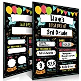 Beautiful First and Last Day of School Board Signs Set of 12 - Reversible 12' x 9' Back to School Cards for Lasting Memories - Perfect Photo Prop Chalkboard Prints for Kindergarten/School Graduation