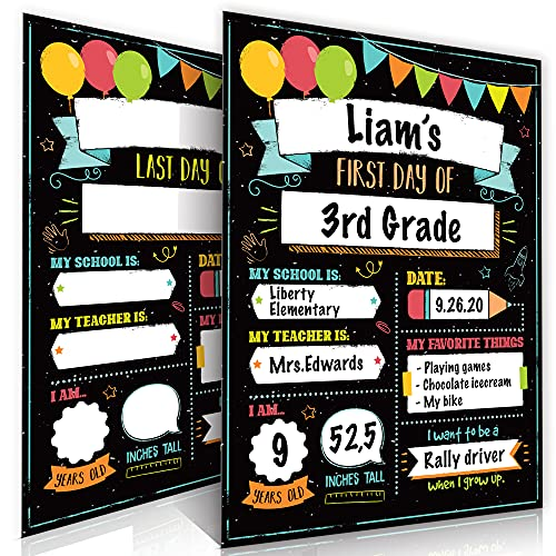 Beautiful First and Last Day of School Board Signs Set of 12 - Reversible 12