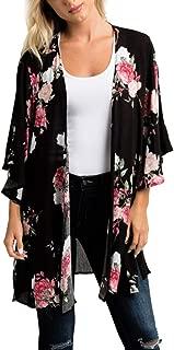 iYBUIA Women's Fashion Lady Foral Prints Shawl Chiffon Kimono Cardigan Top Cover Up Blouse Beachwear