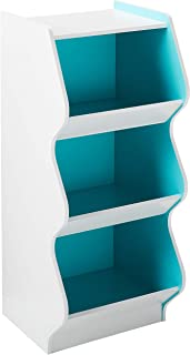 IRIS 3 Tier Curved Edge Storage Shelf, White and Blue